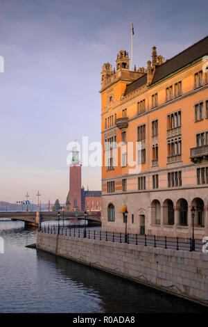 Stockholm city centre, early morning light on cityscape view, Stockholm, Sweden. - Stock Image