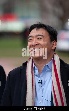 Boston, USA. 10th Apr, 2019. Boston, MA, USA. YANG 2020 American presidential campaign rally at the Parkman Bandstand on the Boston Common. More than 1,000 supporters of Andrew Yang gathered to meet and hear Democratic candidate Yang speak at the Boston Common. Photo shows Yang before speaking to the crowd. Credit: Chuck Nacke/Alamy Live News - Stock Image