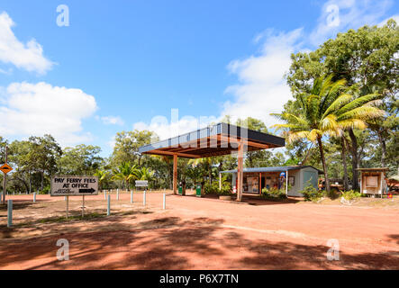 Petrol station and ticket office at Jardine River Ferry crossing, Cape York Peninsula, Far North Queensland, FNQ, QLD, Australia - Stock Image