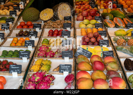 Munich, Bavaria, Germany - May 29, 2019. Tropical fruits are regularly available at the Victuals Market - Stock Image