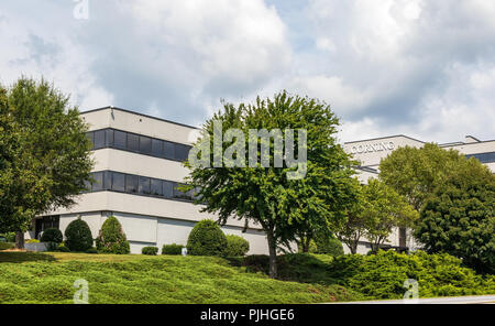 HICKORY, NC, USA-9/6/18: The Corning building, mfr. of glass, ceramics and materials for advanced optics. - Stock Image