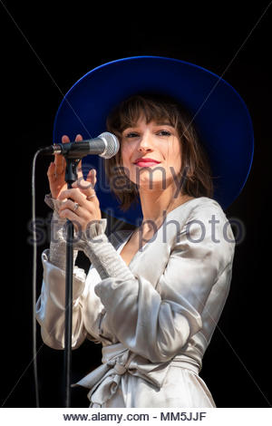 L'Impératrice (singer Flore Benguigui) performing live at the first edition of MUSILAC Mont-Blanc music festival in Chamonix (France) - 20 April 2018 - Stock Image