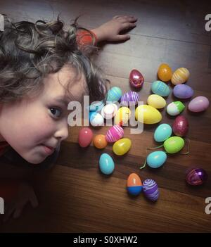 Excited boy on Easter Morning - Stock Image