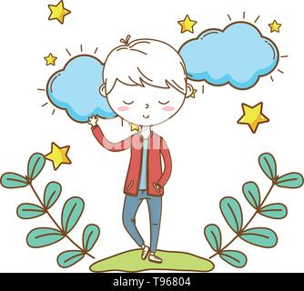 Stylish boy blushing cartoon outfit jeans jacket waving hello  clouds and stars background vector illustration graphic design - Stock Image