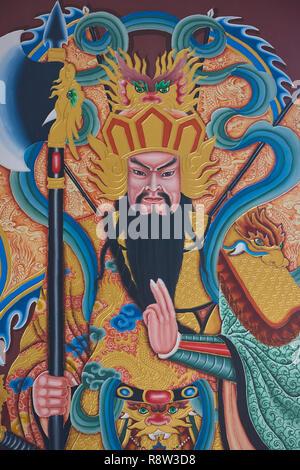 Detail of Gilt Smiling Fat Buddha inside Kuang Im Chapel, near River Kwai, Kanchanaburi, Thailand. - Stock Image