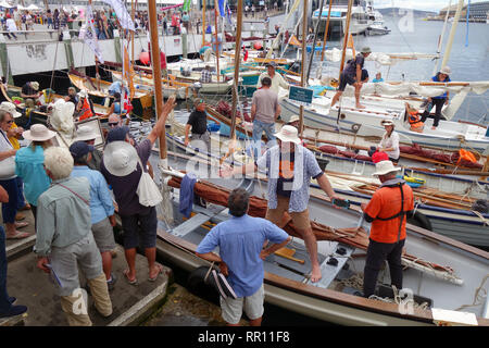Crews of sailing dinghys and whaleboats preparing to leave the dock, Australian Wooden Boat Festival 2019, Hobart, Tasmania, Australia. No PR or MR - Stock Image