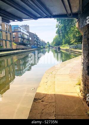 Under a bridge at Hertford Union canal in bow, East London - Stock Image