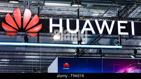 31.03.2019, Hannover, North Rhine-Westphalia, Germany - Huawei logo on the Hannover Messe stand. 00X190331D021CAROEX.JPG [MODEL RELEASE: NO, PROPERTY  - Stock Image