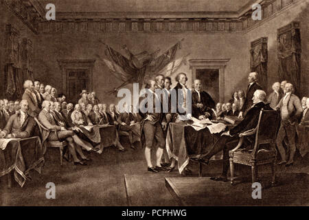 The Declaration of Independence of the USA; 4th July 1776; Illustration from Cassell's History of England, King's Edition Part 33 - Stock Image