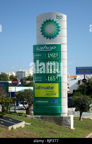 The Price Of Gasoline At The BP Petrol Gas Station In Albufeira February 2019 - Stock Image