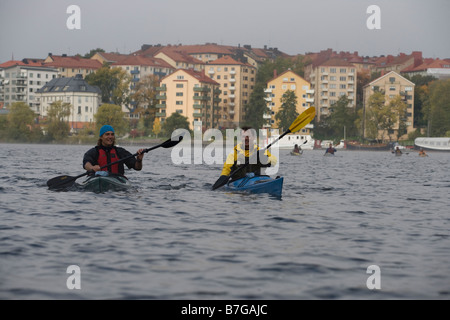 kayaker in stockholm city - Stock Image