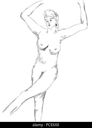 Naked woman.  Black and white nude girl illustration. Dancing naked woman figure. - Stock Image