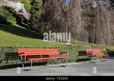 Sunny spring day in Nyon, Switzerland. In this photo you see two red benches made of wood, some green grass and other plants, and colorful flowers. - Stock Image