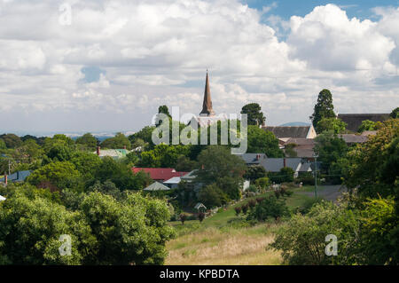 Town view from Cornish Hill over the 19th century gold rush-era town of  Daylesford, Victoria, Australia - Stock Image