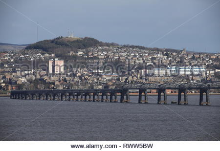 Dundee waterfront and Tay Rail Bridge Scotland  March 2019 - Stock Image