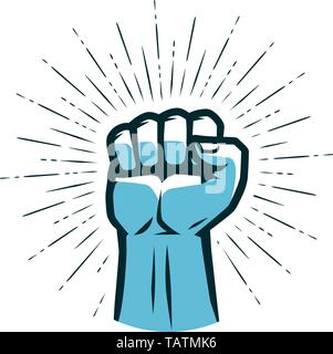 Clenched fist raised up. Gym logo. Vector - Stock Image