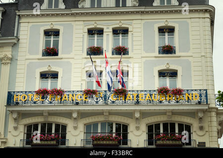 French, hotel france et chateaubriand Saint-Malo France. - Stock Image