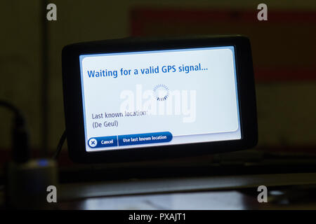 waiting for a valid GPS signal showing on car sat nav - Stock Image