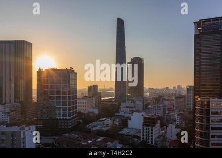 Sunrise and Sky line at Ho Chi Minh city, Saigon, Vietnam, Asia, - Stock Image
