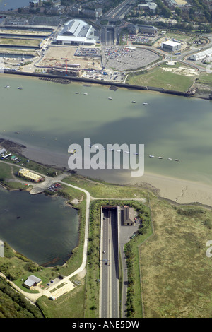 Aerial view of the Medway Tunnel linking Strood and Rochester with Gillingham and Chatham in the Medway Towns District - Stock Image