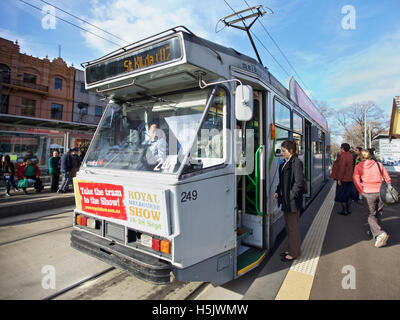 St Kilda tram at St Kilda shopping area in Melbourne, Australia  A major form of public transport in Melbourne - Stock Image
