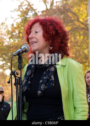 London, UK. 19th November 2011. Unison Union's head of local government Heather Wakefield speaking at the Fawcett - Stock Image