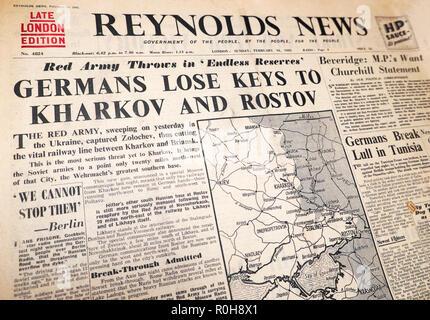 'Germans Lose Keys to Kharkov and Rostov' Reynolds News Second World War British newspaper headline and map London UK Great Britain  14 February 1943 - Stock Image
