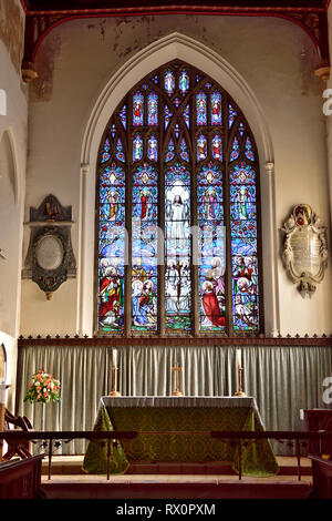 Stained glass window seen from inside St. Peter's Church, Tiverton, Devon, UK - Stock Image