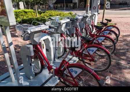 B cycles at Market Square B station Houston Texas - Stock Image