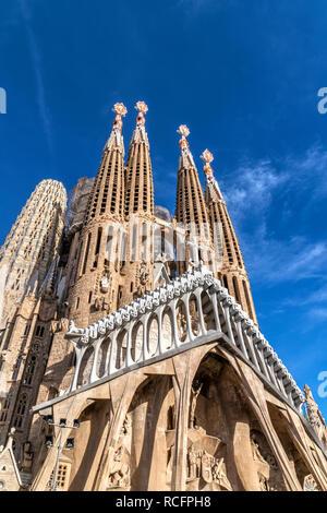 The Passion Facade of Sagrada Familia basilica church, Barcelona, Catalonia, Spain - Stock Image
