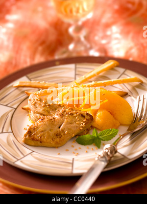 Foie Gras Cooked with Quince - Stock Image