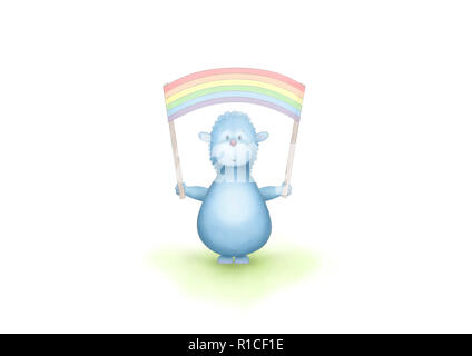 cute hand drawn blue fantasy animal holding up rainbow flag banner, on white background - Stock Image