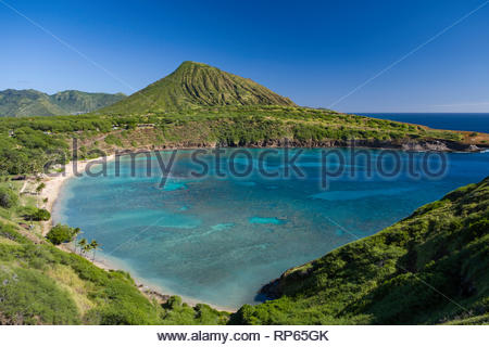 White sand beach at Hanauma Bay, Koko Head District Park, Hawaii Kai, Oahu, Hawaii, USA - Stock Image