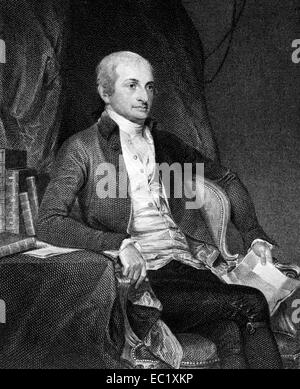 John Jay (1745-1829) on engraving from 1835. American statesman, Patriot, diplomat and first Chief Justice of the - Stock Image