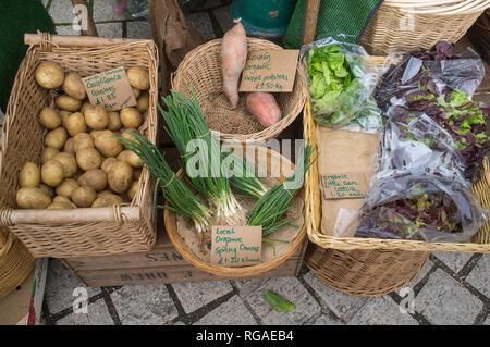 Organic vegetasbles for sale in the market in Totnes, Devon, - Stock Image