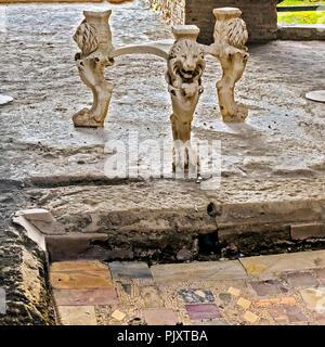 Lion Legs and Head Stool Base Pompeii Campania Italy - Stock Image