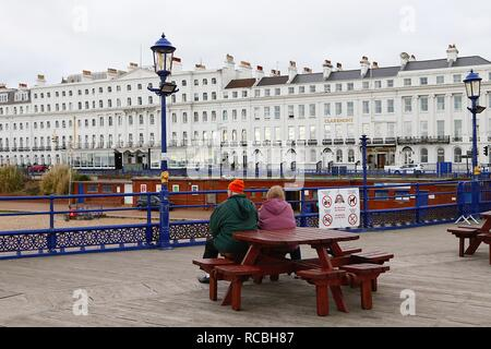 Eastbourne, East Sussex, UK. 15 Jan, 2019. UK Weather: A bright but chilly mid morning in Eastbourne on the seafront promenade with people jogging and taking a walk enjoying the dry weather.  © Paul Lawrenson 2018, Photo Credit: Paul Lawrenson / Alamy Live News - Stock Image