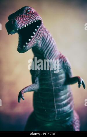 Still life of a toy Tyrannosaurus rex dinosaur - Stock Image
