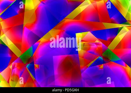 Very bright and saturated rainbow colors in a random pattern or shapes - Stock Image