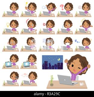 A set of women in sportswear on desk work.There are various actions such as feelings and fatigue.It's vector art so it's easy to edit. - Stock Image