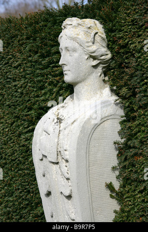 Marble Statue Called Terms in the Queens Garden at Kew Palace Gardens, London, UK - Stock Image