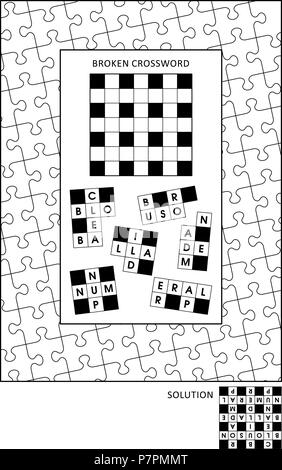 Puzzle and coloring activity page for grown-ups with word game (English) and wide decorative frame to color. Family friendly. Answer included. - Stock Image