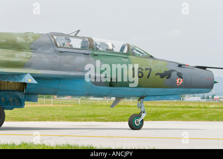Croatian Air Force MiG-21 UMD two seater trainer '167', Pleso AFB during 'open day' visit in 2007 - Stock Image