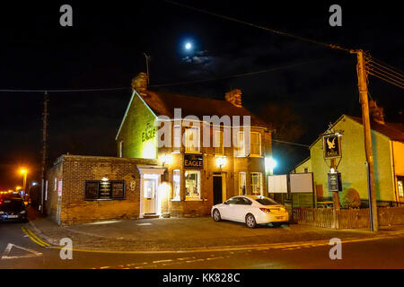 The Eagle Public House at night, Coggeshall Road, Braintree, Essex - Stock Image