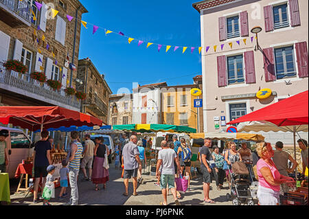 Saint Felicien in the Ardeche department of Rhone Alps, France and street market in the centre of the town - Stock Image