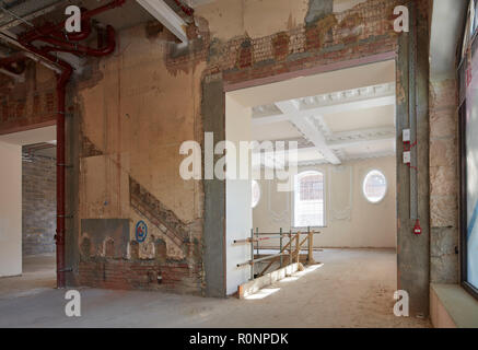 Ground floor interior under construction. 224 - 226 Kings Road, London, United Kingdom. Architect: Horden Cherry Lee Architects Ltd, 2018. - Stock Image