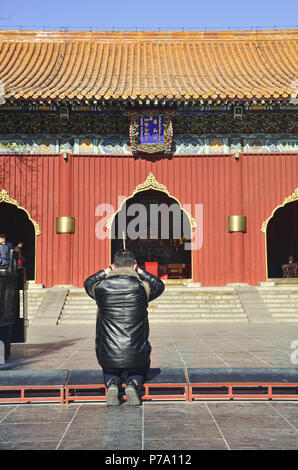Tourists pray in front of Hall of Heavenly Kings's gate of Harmony and Peace, Beijing - Stock Image