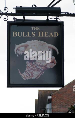 The Bulls Head Pub Sign UK Pub Signs - Stock Image