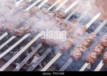 Closeup of kebab over hot charcoal barbecue - Stock Image