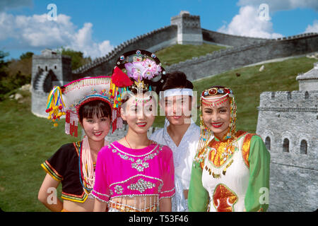 Kissimmee Orlando Florida Splendid China Theme Park stage show dancers Great Wall replica beyond - Stock Image